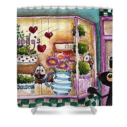 Sandy's Floral Shop Shower Curtain by Lucia Stewart