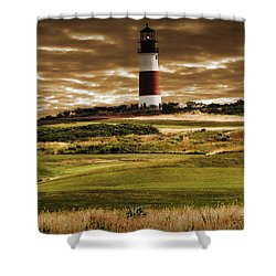 Sankaty Head Lighthouse In Nantucket Shower Curtain by Mitchell R Grosky
