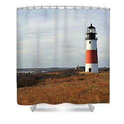 Sankaty Head Lighthouse Nantucket In Autumn Colors Shower Curtain