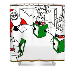 Santa And Reindeer Conference Shower Curtain by Genevieve Esson