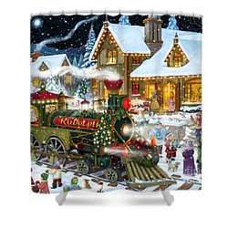 Santa Arrives In Rudolph Train Shower Curtain