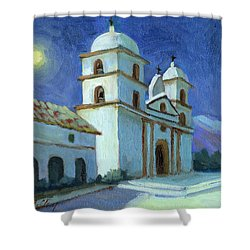 Santa Barbara Mission Moonlight Shower Curtain