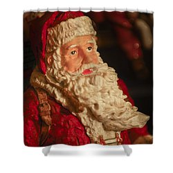 Santa Claus - Antique Ornament - 01 Shower Curtain by Jill Reger