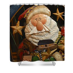 Santa Claus - Antique Ornament - 27 Shower Curtain by Jill Reger