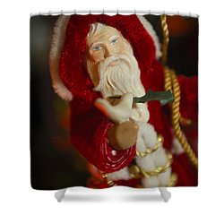 Santa Claus - Antique Ornament - 32 Shower Curtain by Jill Reger