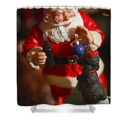 Santa Claus - Antique Ornament - 33 Shower Curtain by Jill Reger