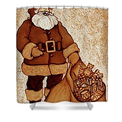 Shower Curtain featuring the painting Santa Claus Bag by Georgeta  Blanaru