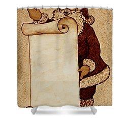 Shower Curtain featuring the painting Santa Claus Wishlist Original Coffee Painting by Georgeta  Blanaru