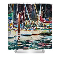 Shower Curtain featuring the painting Santa Cruz Dock by Xueling Zou