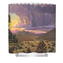 Shower Curtain featuring the painting Santa Fe Baldy by Art James West