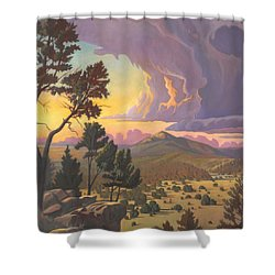 Shower Curtain featuring the painting Santa Fe Baldy - Detail by Art James West
