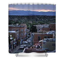 Shower Curtain featuring the photograph Santa Fe Evening Rooftops by John Hansen