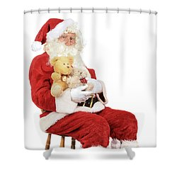 Santa Holding Teddy Bears Shower Curtain