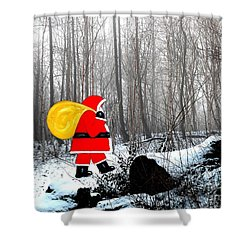 Santa In Christmas Woodlands Shower Curtain by Patrick J Murphy