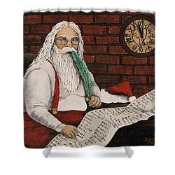 Santa Is Checking His List Shower Curtain by Darice Machel McGuire