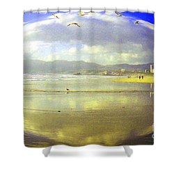 Santa Monica Beach Shower Curtain by Jerome Stumphauzer