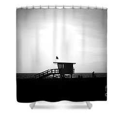 Santa Monica Lifeguard Tower In Black And White Shower Curtain by Paul Velgos
