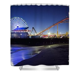 Santa Monica Pier At Night Shower Curtain
