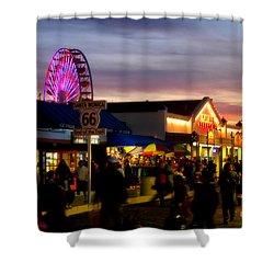 Santa Monica Pier At Sunset Shower Curtain by Diana Sainz