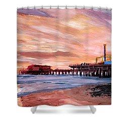 Santa Monica Pier At Sunset Shower Curtain