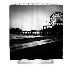 Santa Monica Pier In Black And White Shower Curtain by Paul Velgos