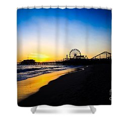 Santa Monica Pier Pacific Ocean Sunset Shower Curtain by Paul Velgos