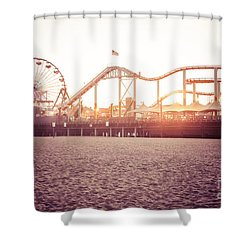 Santa Monica Pier Roller Coaster Retro Photo Shower Curtain by Paul Velgos