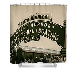 Santa Monica Pier Sign Shower Curtain by David Millenheft