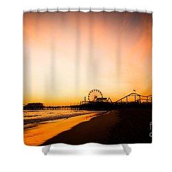 Santa Monica Pier Sunset Southern California Shower Curtain by Paul Velgos