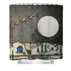 Shower Curtain featuring the painting Santa Over The Moon by Jeffrey Koss