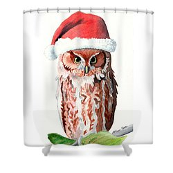 Santa Owl Shower Curtain by LeAnne Sowa
