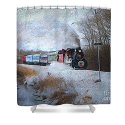 Shower Curtain featuring the digital art Santa Train - Waterloo Central Railway No Text by Lianne Schneider