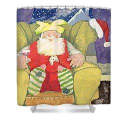 Santa Warming His Toes  Shower Curtain by David Cooke
