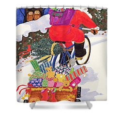 Santas Bike Shower Curtain by Linda Benton