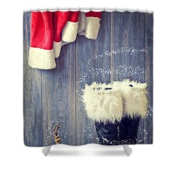 Santa's Boots Shower Curtain by Amanda Elwell