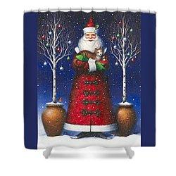 Santa's Cat Shower Curtain