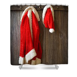 Santa's Coat Shower Curtain by Amanda Elwell