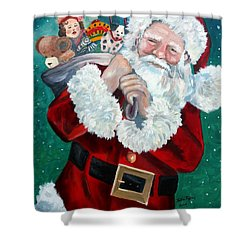 Santa's Coming To Town Shower Curtain