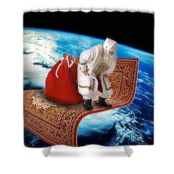 Santa's Flying Carpet Shower Curtain