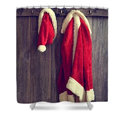 Santa's Hat And Coat Shower Curtain by Amanda Elwell
