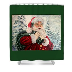 Santa's On His Way Shower Curtain