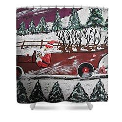 Santa's Truckload Shower Curtain by Jeffrey Koss