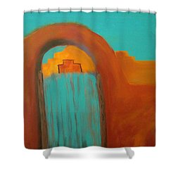 Shower Curtain featuring the painting Sante Fe by Keith Thue