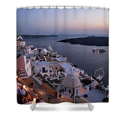 Santorini At Dusk Shower Curtain