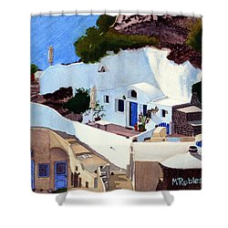 Santorini Cave Homes Shower Curtain by Mike Robles