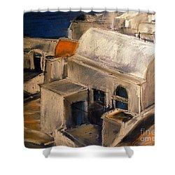 Santorini Shower Curtain by Mona Edulesco