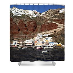 Santorini  Island  View To Oia Greece Shower Curtain