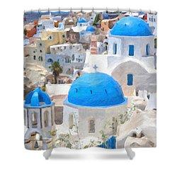 Santorini Oil Painting Shower Curtain