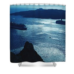 Shower Curtain featuring the photograph Santorini  Silent Night View Greece by Colette V Hera  Guggenheim