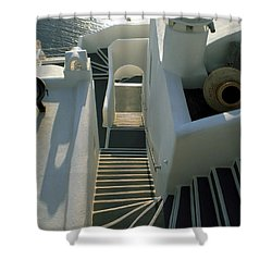 Shower Curtain featuring the photograph Santorini Stairs by Colette V Hera  Guggenheim